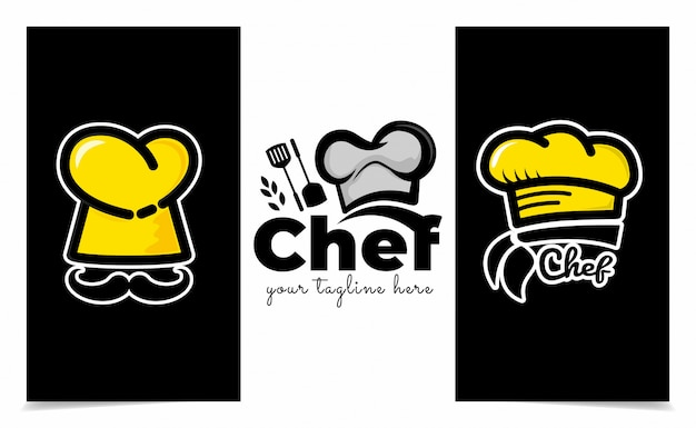 Chef hat logo template, restaurant logo design inspiration en bakery logo