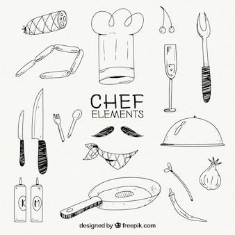 Chef-hoed en andere elementen in handgetekende stijl
