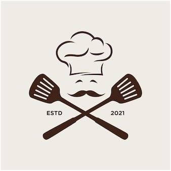 Chef hoed keuken logo sjabloon inspiratie premium vector