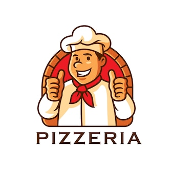 Chef karakter mascotte logo sjabloon vectorillustratie