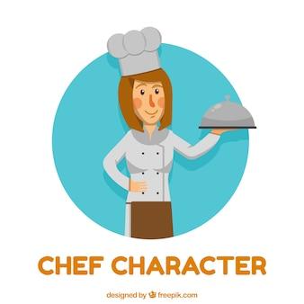 Chef-karakter met schaal in vlakke vormgeving