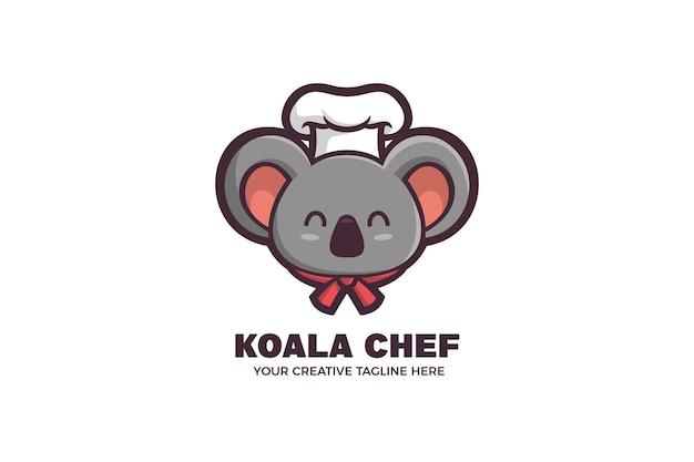 Chef koala kinderen eten mascotte karakter logo sjabloon