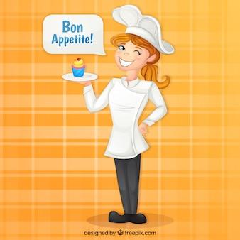 Chef-kok achtergrond met heerlijke cupcake