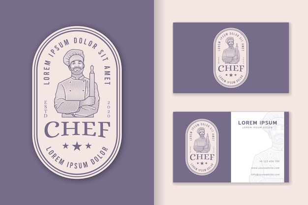 Chef-kok badge vintage logo en sjabloon voor visitekaartjes