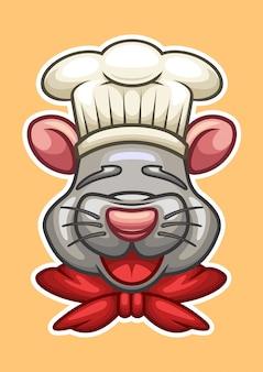 Chef-kok cartoon muis hoofd vectorillustratie
