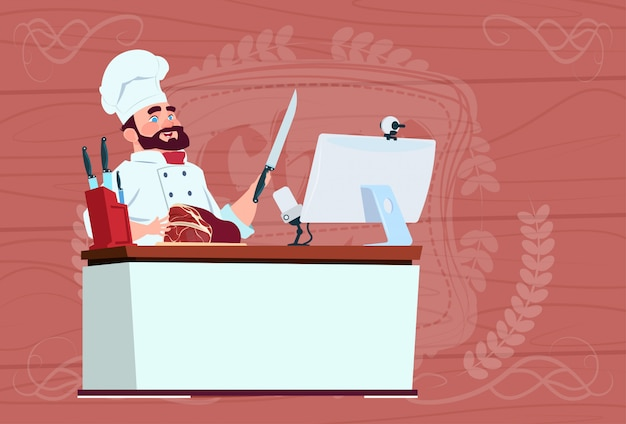 Chef-kok cook making video blog cookong bij computer desk streaming cartoon restaurant chief in white uniform blogger