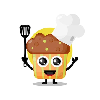 Chef-kok cupcake schattig karakter mascotte