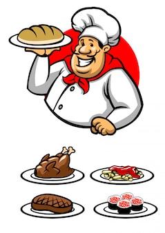 Chef-kok die een plaat van schotel voorstelt