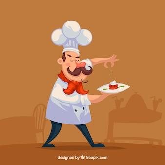 Chef-kok die een schotel bereidt