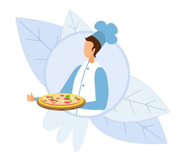 Chef-kok die hete verse pizza op dienbladbeeldverhaalembleem draagt