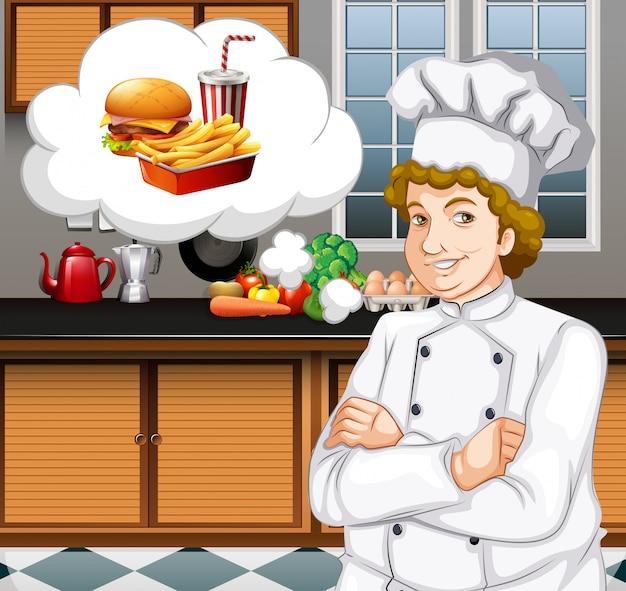 Chef-kok die in de keuken werkt