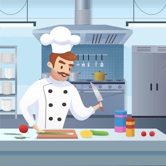 Chef-kok die in proces een restaurantmenu voorbereidt