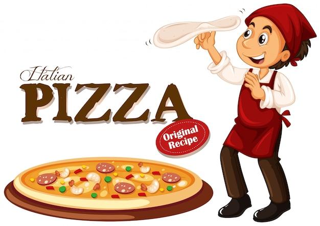 Chef-kok die italiaanse pizza maakt