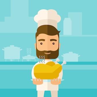 Chef-kok die smakelijke gekookte turkije voorstelt.