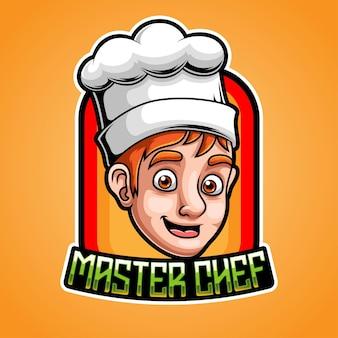 Chef-kok esport mascotte logo ontwerp