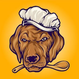 Chef-kok eten hond koken mascotte illustraties