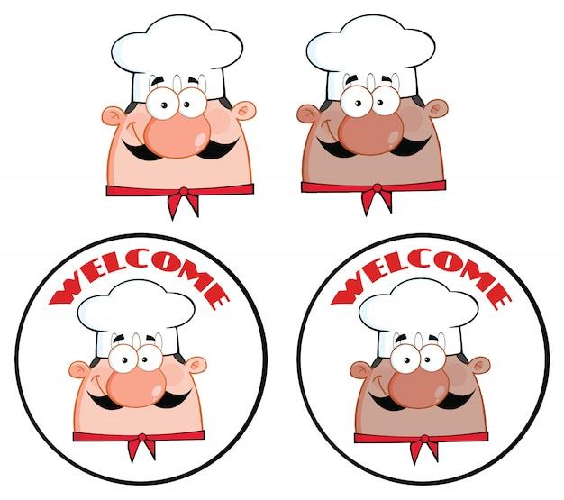 Chef-kok gezicht cartoon mascotte karakter cirkel banner ontwerp.