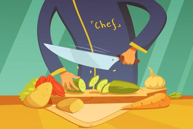 Chef-kok groenten snijden