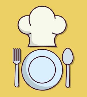 Chef-kok hoed en gerecht
