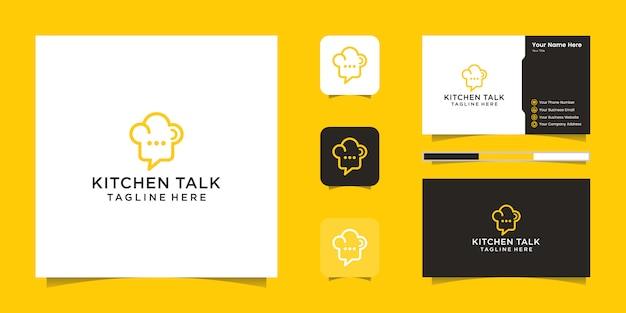 Chef-kok hoed logo en negatieve ruimte chat-pictogram en visitekaartje inspiratie