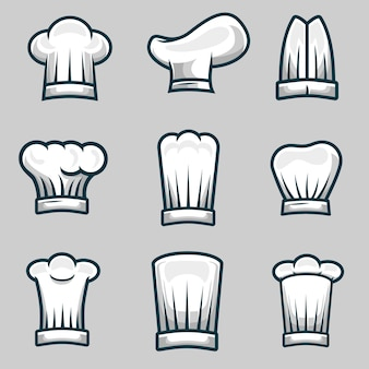 Chef-kok hoeden object illustratie voorraad vector set
