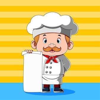 Chef-kok houdt blanco papier voor menu