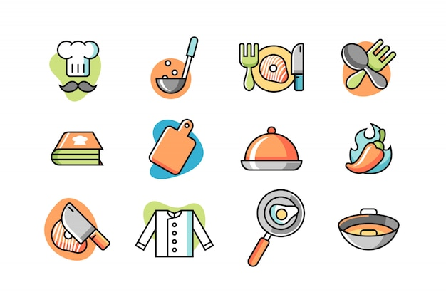 Chef-kok icon set