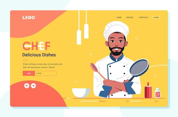 Chef-kok illustratie voor bestemmingspagina of website-sjabloon voor spandoek