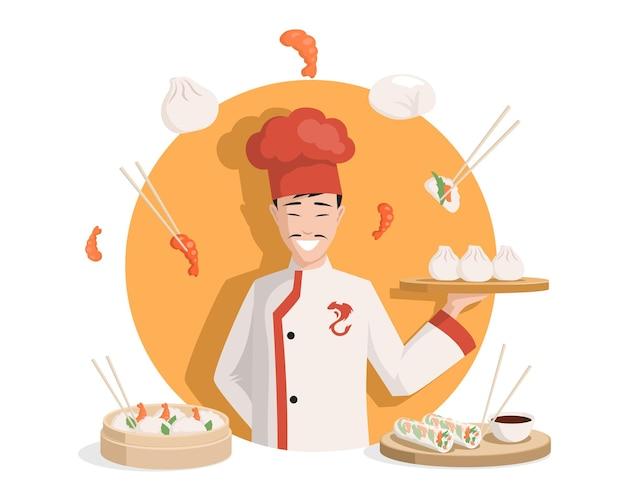 Chef-kok in chinese kimono platte vectorillustratie smakelijke heerlijke chinese