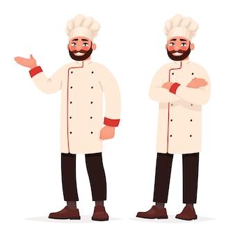 Chef-kok in twee poses