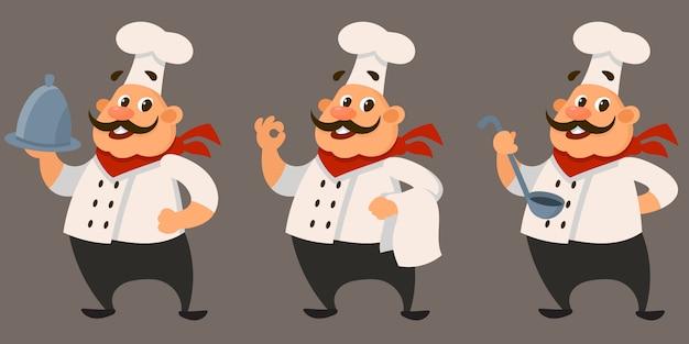 Chef-kok in verschillende poses.