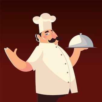 Chef-kok in witte hoed met schotel werknemer restaurant vectorillustratie