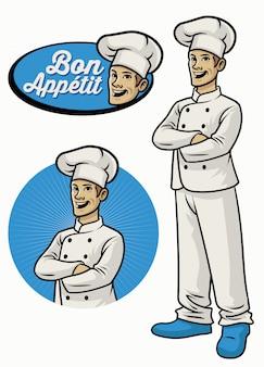Chef-kok karakter dragen uniform in gekruiste arm pose
