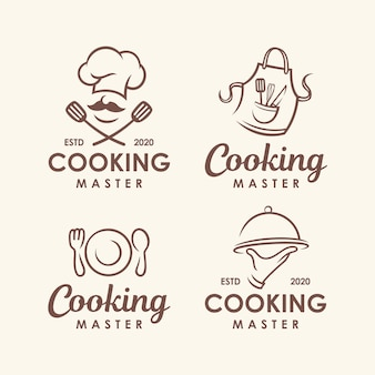 Chef-kok, koken logo sjabloon set.