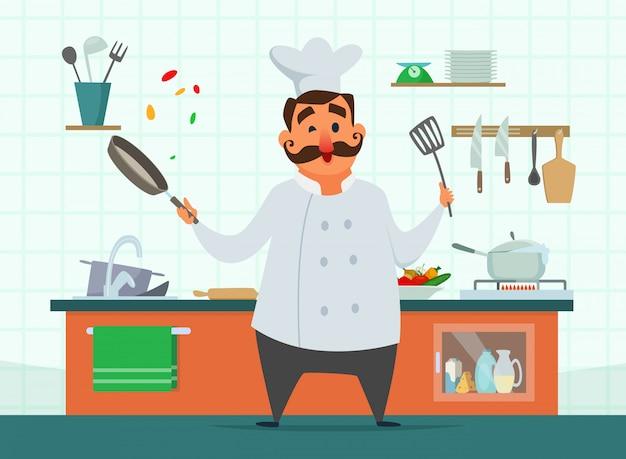Chef-kok koken op de keuken