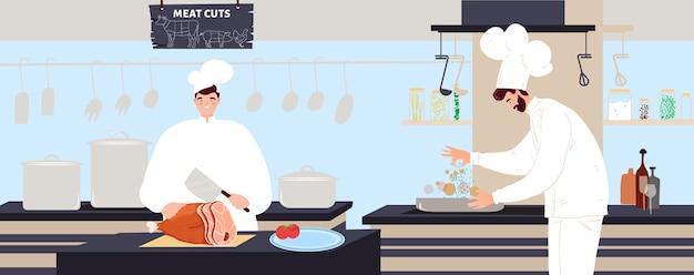 Chef-kok kookt vlees illustratie.