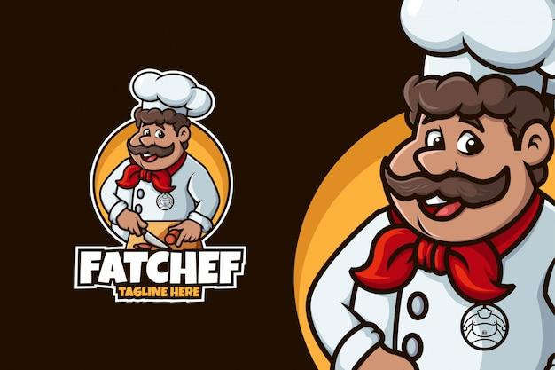 Chef-kok logo met dikke man en snijdende pose
