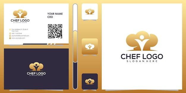 Chef-kok logo met visitekaartje ontwerp vector premium