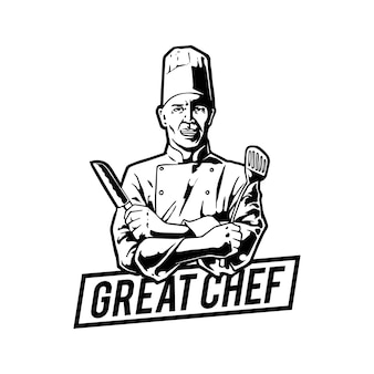 Chef-kok logo sjabloonontwerp
