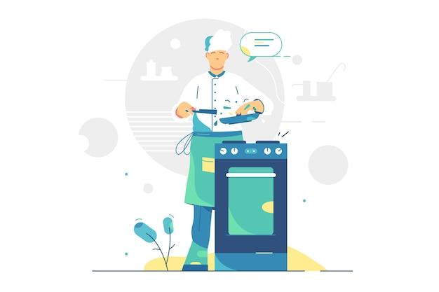 Chef-kok man koken smakelijke maaltijd vectorillustratie. voedingsindustrie, restaurant, kookconcept.