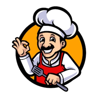 Chef-kok mascotte cartoon afbeelding
