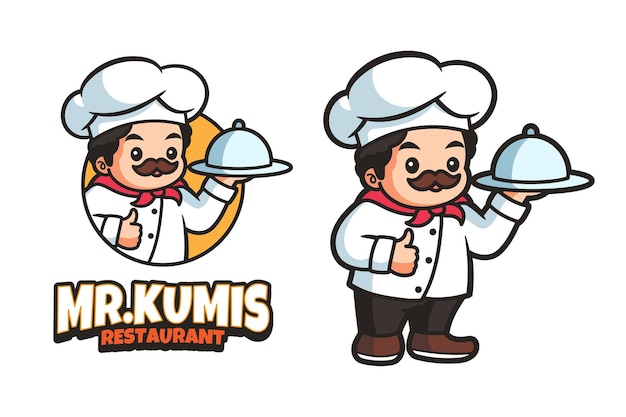 Chef-kok mascotte cartoon logo ontwerpsjabloon