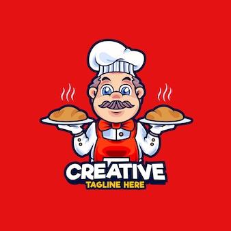 Chef-kok mascotte logo ontwerp illustratie. chef-kok serveert warm brood vectorillustratie
