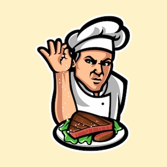 Chef-kok mascotte stripfiguur