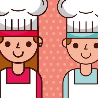 Chef-kok meisje en jongen blij tekens in uniform hoed Premium Vector