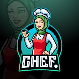 Chef-kok meisje esport logo mascotte ontwerp