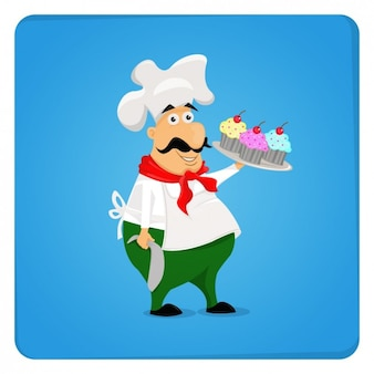Chef-kok met cupcakes illustratie