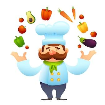 Chef-kok met groenten