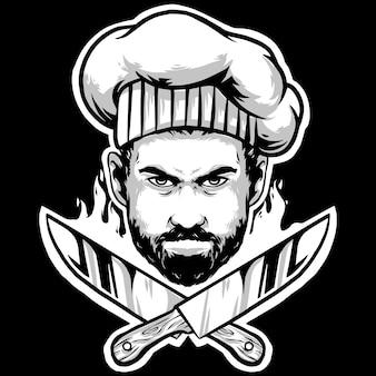 Chef-kok met messen en koksmuts