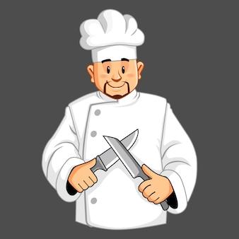 Chef-kok met messen in handen.